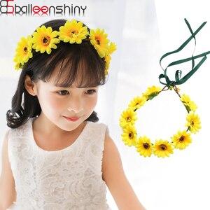 Balleenbrillante-couronne de fleurs de soleil   Bandeau pour enfants, couronne marguerite, couvre-chef, accessoires pour cheveux, accessoires pour photos de mariage