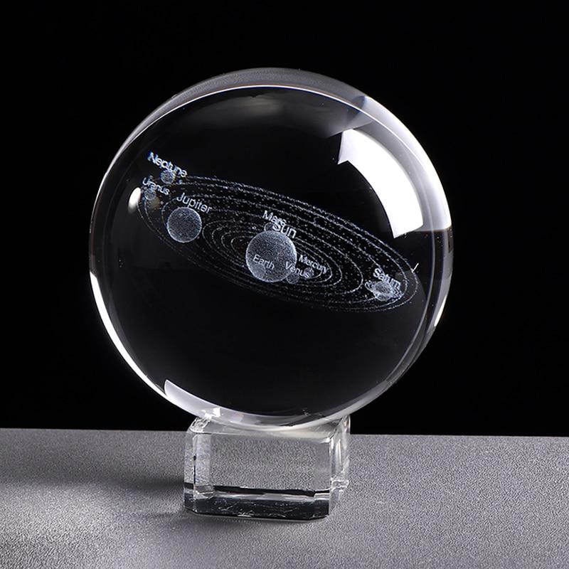 כדור קריסטל 3D שקוף עם שילוב כוכבי הלכת
