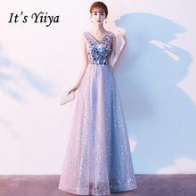 Женское вечернее платье без рукавов it's yiiya длинное блестящее