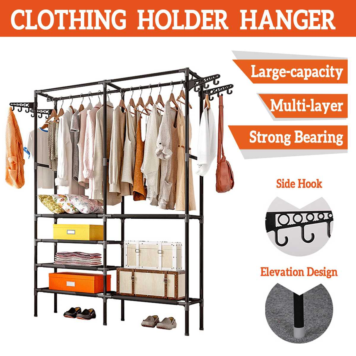 Colorful Clothes Rack Floor Standing Clothes Hanging Storage Shelf Clothes Hanger Racks Couple Simple Style Bedroom Furniture