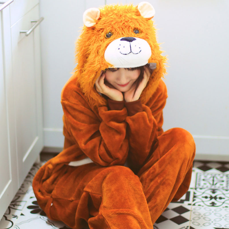 Lion Onesie Animal Kigurumi 2019 New Overalls Women Girl Unisex Sleep Wear Pajama Party Suit Adult Winter Warm Flannel Outfit