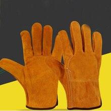 Schweißen Handschuhe Arc Tig Mig Schweißer Wärme Beständig Leder Öfen Feuer Gelb Garten Schutzhülle Grill Handschuhe