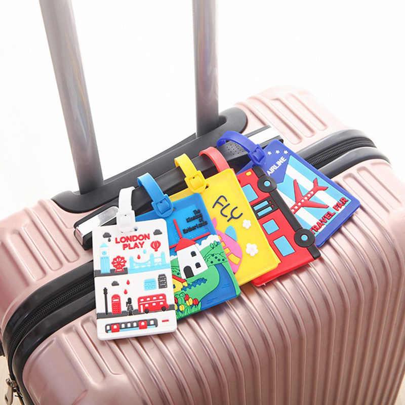 Etiqueta para equipaje Kawaii bonita de moda, titular de la Dirección de identificación de valijas de dibujos animados, identificador de etiqueta de equipaje de sílice, accesorios de viaje almacenados