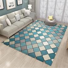 Синий белый серый плед геометрический Коврик Скандинавская Современная гостиная Большой размер цветной ковер пол ковры спальня винтажный Противоскользящий