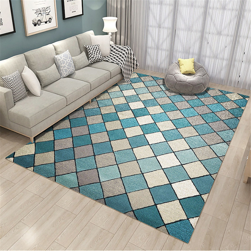Blue White Grey Plaid Geometric Carpet Nordic Modern Living Room Big Size Color Carpet Floor Rugs Bedroom Vintage Anti-slip