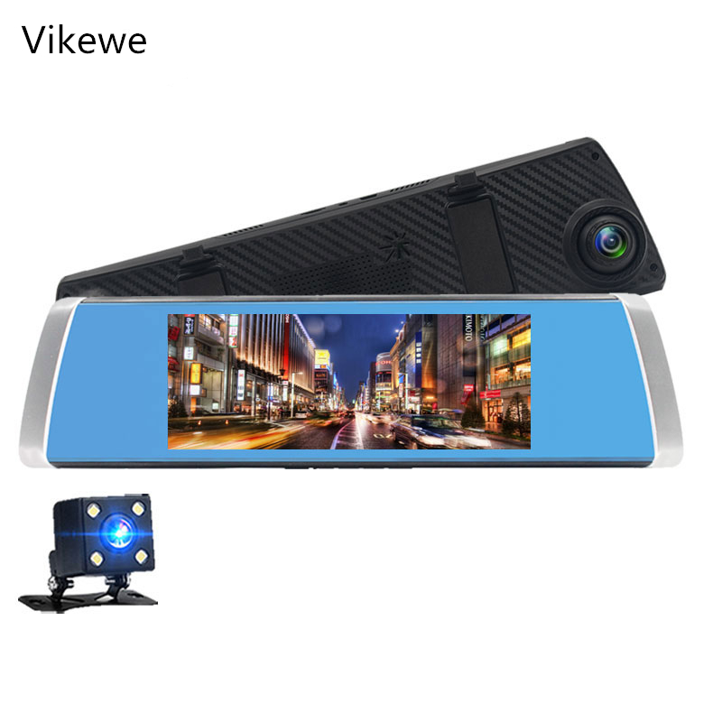 Vikewe <font><b>2019</b></font> New Back Camera 1080P Car DVR Dual Lens <font><b>Dash</b></font> <font><b>Cam</b></font> 7'' IPS Touch Screen Rear view <font><b>Mirror</b></font> Driving Recording Recorder image