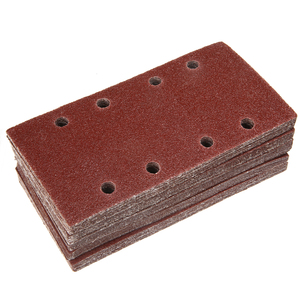 Image 2 - 50pcs 8 Holes Sand Paper Sheets Rectangle Brown Sandpaper for Polishing Swing Grinder 40 120 Grit Orbital Sanders Tools 93*185mm