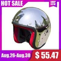 Neue Vcoros marke vintage motorrad helme SILBER Chrom Spiegel malerei cascos capacete jet roller open face retro helme