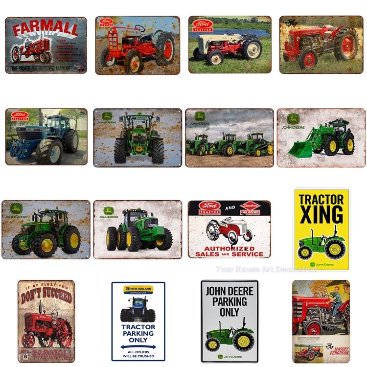 Farm Tractor Plate Metal Tin Signs etro iron picture classical wall decoration for farm house bar cafe shop Iron Craft Paintings
