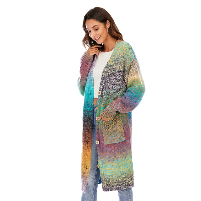 CGYY Women's Lightweight Rainbow Color Striped  Loose Causal  Long Sleeve Open Front Breathable Cardigans Sweater With Pockets 4