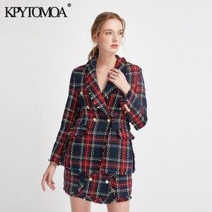Image 3 - Vintage podwójne piersi postrzępione sprawdzone Tweed Blazers płaszcz kobiety 2020 modne etui kratę panie odzieży dorywczo Casaco Femme