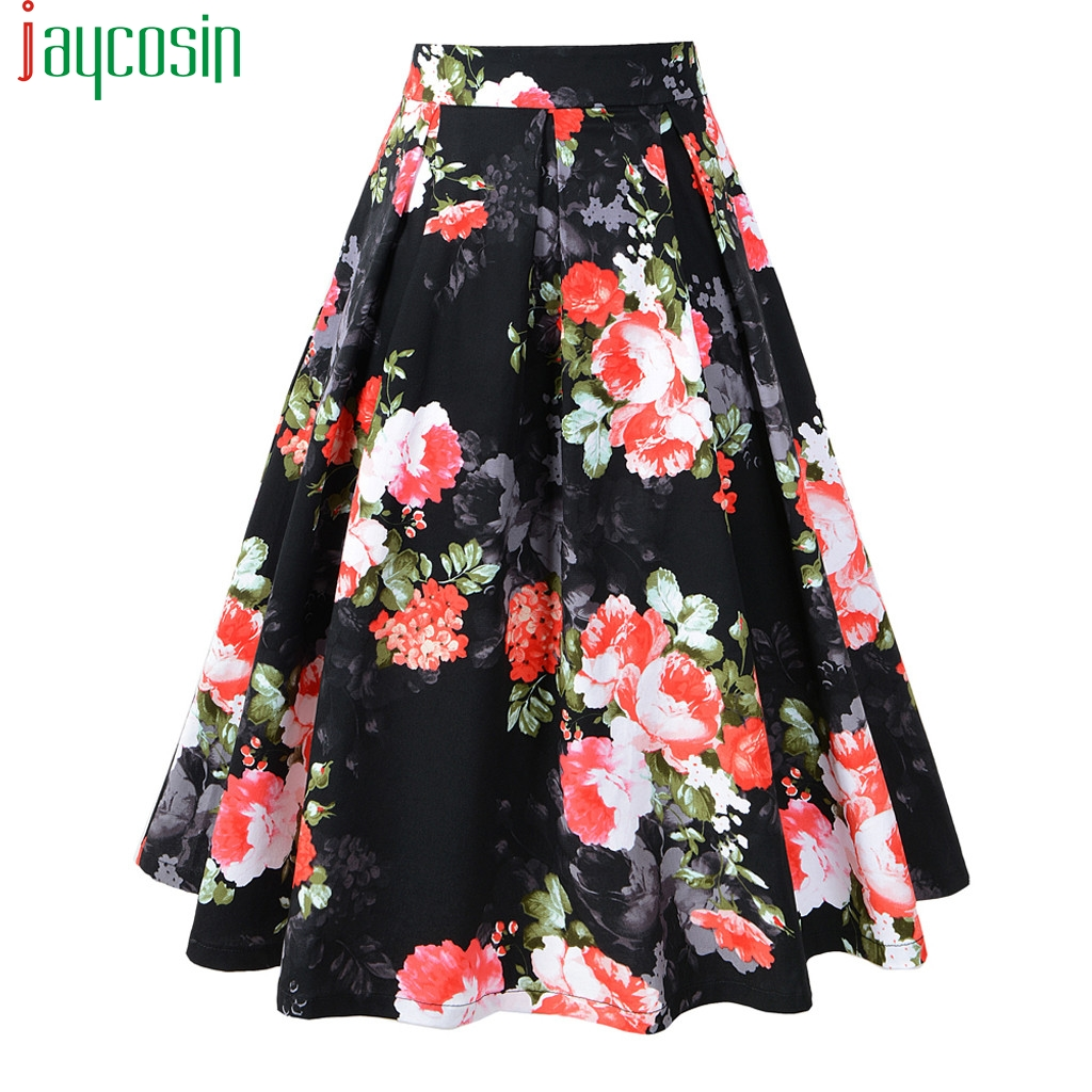 Women Long Skirt Cotton Loose High Waist Vintage Flower Print Fashion Female Skirt Breathable Ladies Plus Size Party Skirt