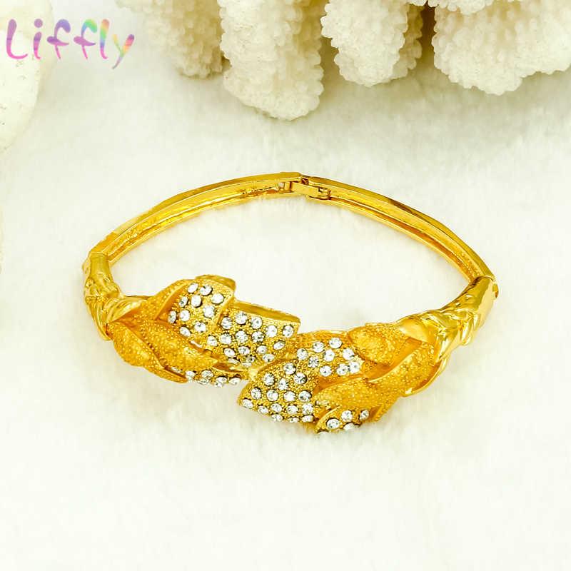 אפריקה קריסטל תכשיטי תכשיטים סטי דובאי נשים חתונה עלה צורת עגילי כלה תכשיטי שרשרת צמיד טבעת