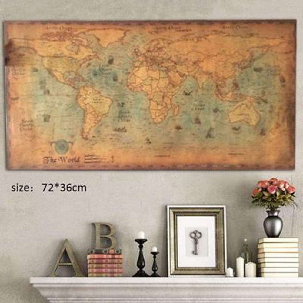Nautical Ocean Sea World Map Retro Old Art Paper Painting Home Decor Wall Poster Office Supplies 72*36cm image