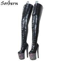 Sorben Botas Snake Holo hasta el muslo para Stripper, tacones altos baile, personalizadas, Eje largo extremos anchos, botas, Crossdress