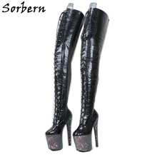Sorben งู Holo เป้าต้นขารองเท้าผู้หญิงสำหรับ Stripper Dance รองเท้าส้นสูงที่กำหนดเองกว้างยาวความยาวเพลารองเท้า Crossdress