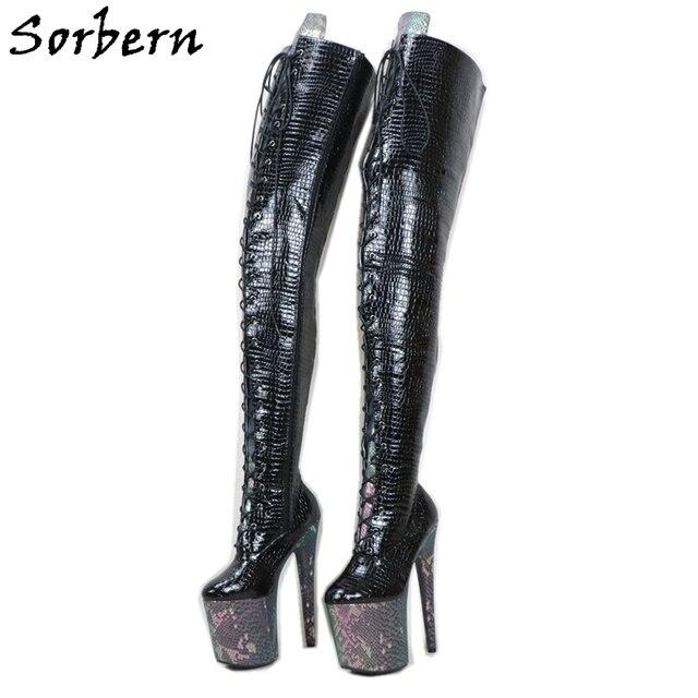 Sorben Snake Holo Crotch Thigh Boots Women For Stripper Dance High Heels Custom Wide Extreme Long Shaft Length Boots Crossdress