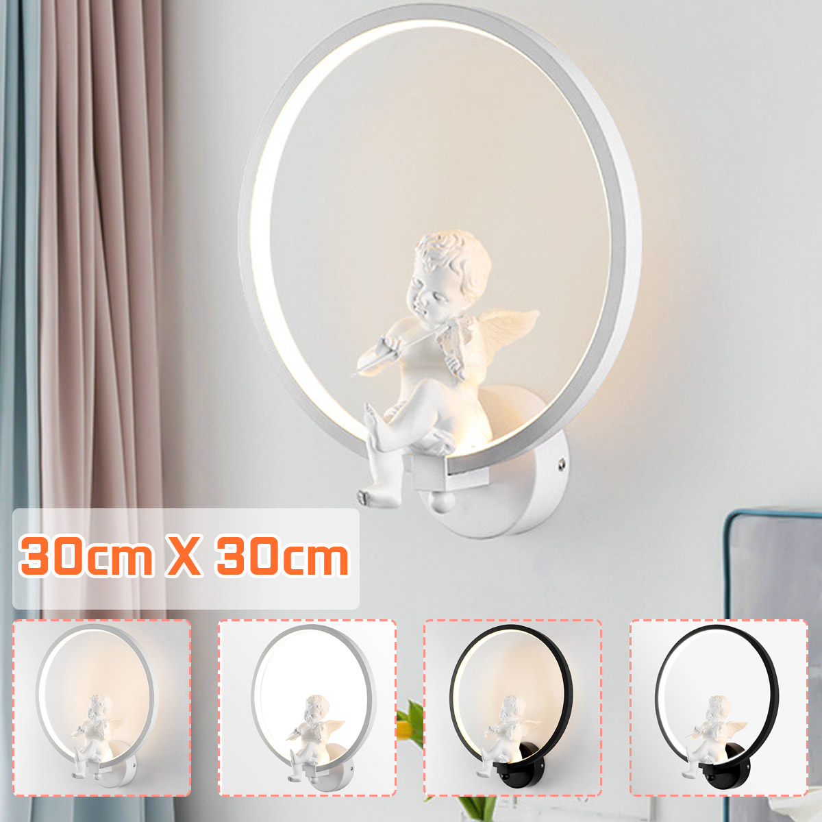 30cm Wall Lamps Indoor Nordic Style Black White hallway stairs wall study LED lamps with angel Violin Home Wall Decoration 30cm
