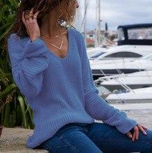 Women Knitted V Neck Long Sleeve Sweater Winter Warm Pullovers Loose Basic Sweaters Top Autumn Femme Casual Blue Red Shirt Tops цена в Москве и Питере