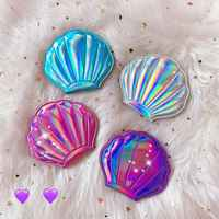 Creative Sea Shell Shaped Holographic Rainbow Colored Magnifying Compact Cosmetic Double Sided Folding Pocket Mirror Portable