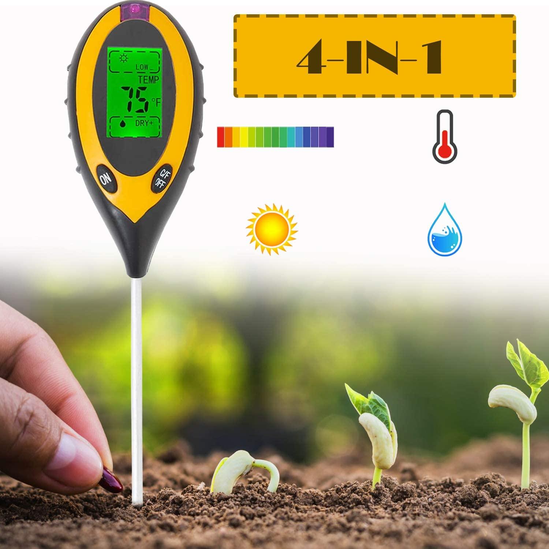 Testador de ph do solo, 3/4 em 1 ph luz umidade acidez tester solo medidor de umidade planta solo tester kit para flores