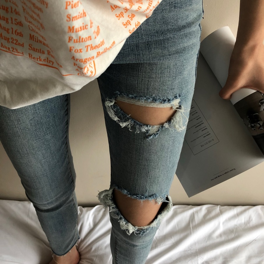 [Unique] 2019 Autumn New Style High-waisted Thin Korean-style Jeans WOMEN'S Pants Feet Cool With Holes Skinny Pants Capri Pants
