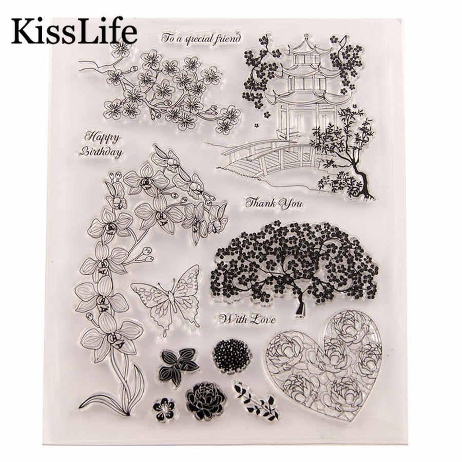1 แผ่นดอกไม้ที่สวยงามใบผีเสื้อPavilionหัวใจใสแสตมป์ยางสำหรับScrapbooking Cardทำวันวาเลนไทน์แสตมป์
