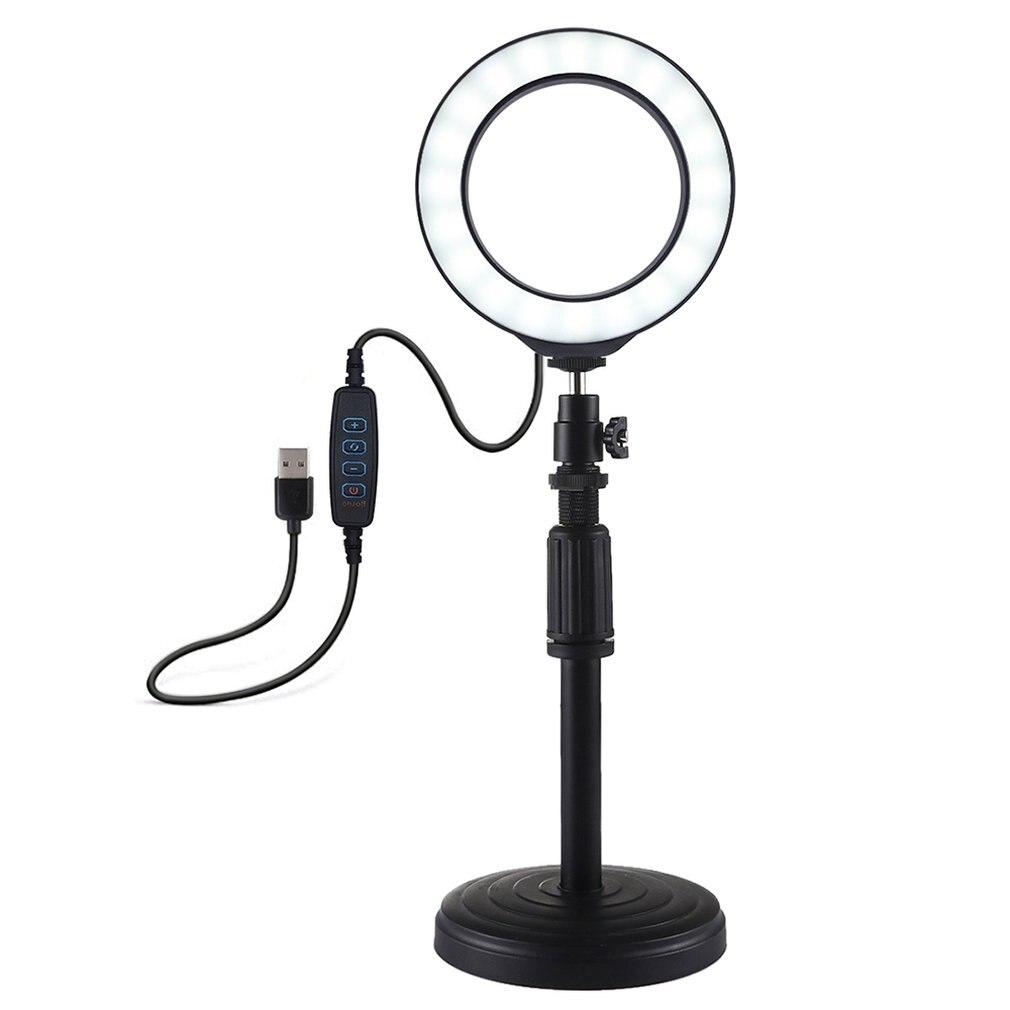 PULUZ Led-Ring Video-Light Round-Base Desktop-Mount Adjustable Vlogging USB 3-Modes