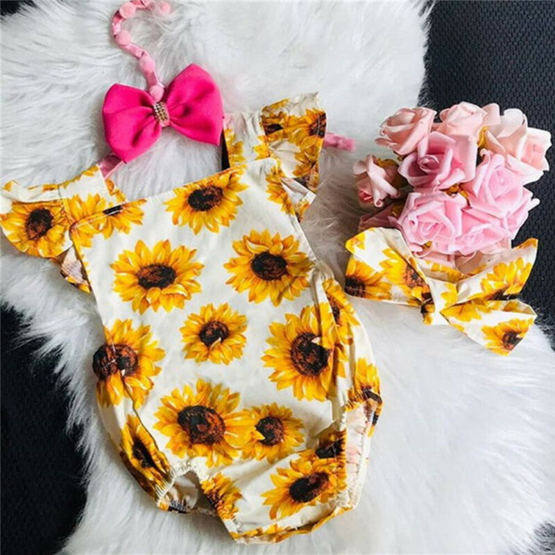 2020 Baby Summer Clothing Newborn Baby Girl Sunflower Jumpsuit Clothes Bodysuit Headband Backless Outfits
