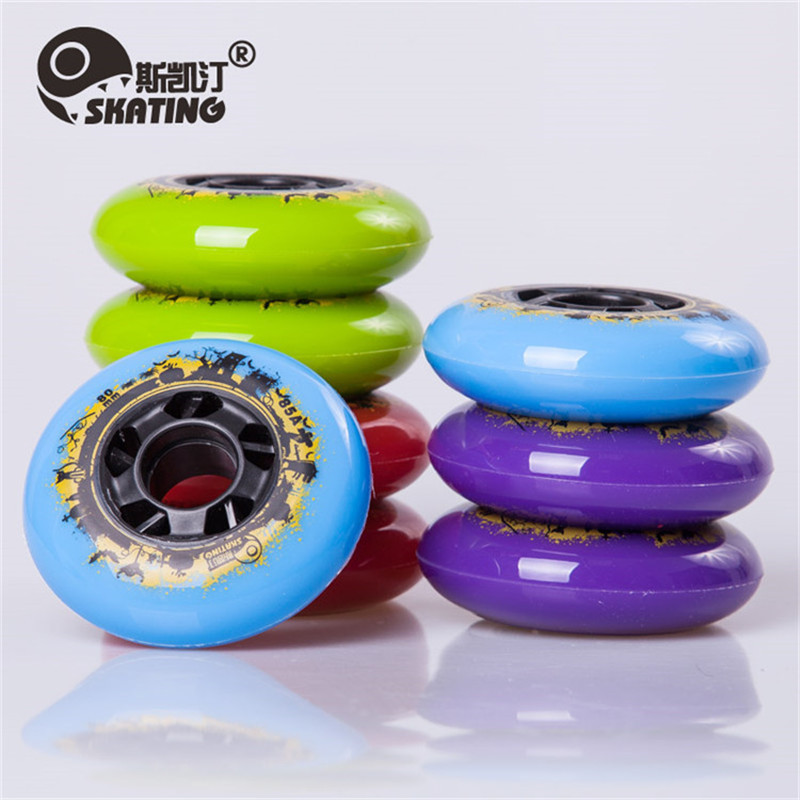 [72mm 76mm 80mm]  SKATING Branded 85A Thin PU Meat Skating Wheel With 24mm Thickness Durable Inline Skates Wheel