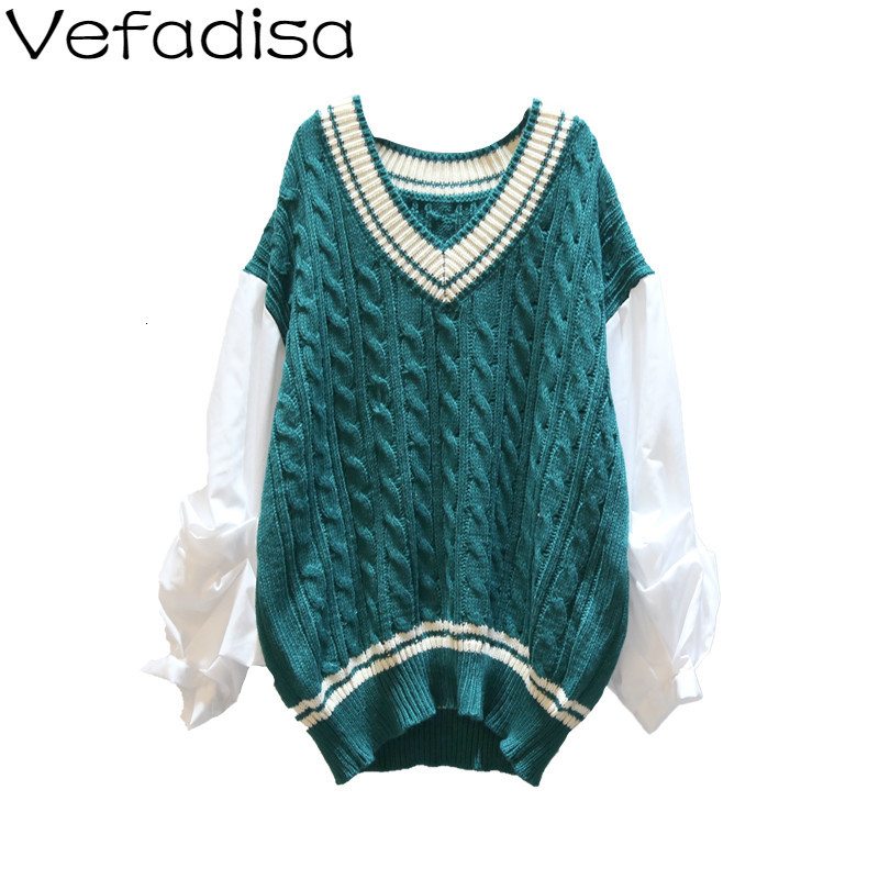 Vefadisa Winter Pullovers Sweater Woman Casual Patchwork Sleeve Sweater Long Sleeve V-Neck Knitting Sweater 2019 QYF840 thumbnail