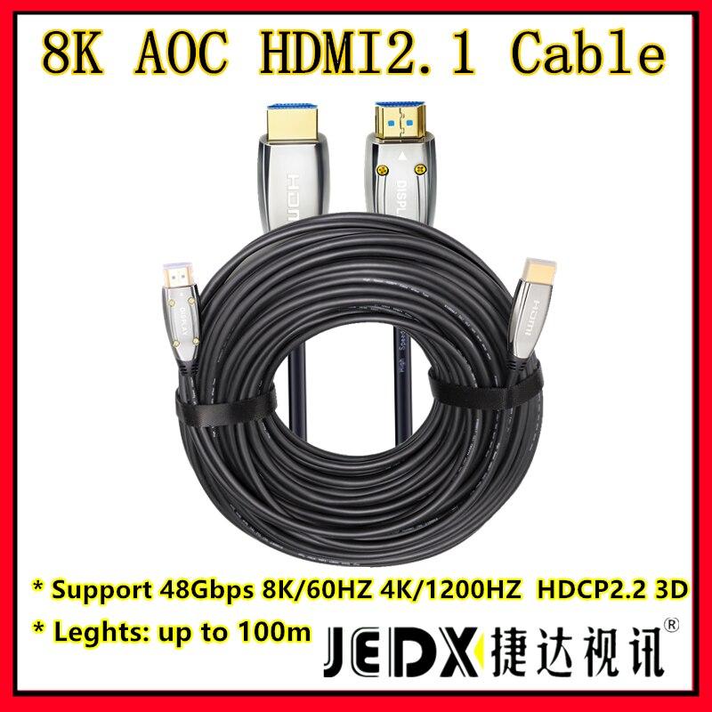 HDMI2.1 UHD 8K60hz4K @ 120Hz 2K 3D HDCP2.2 1m ~ 150m HDMI câble d'extension à fibers optiques AOC HDR pour HD Apple TV, PS3, projecteur pour ordinateur portable