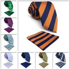 Paisley Solid Mens Accessories Necktie 63 Dress Pocket Square Wedding Ties for Men Set