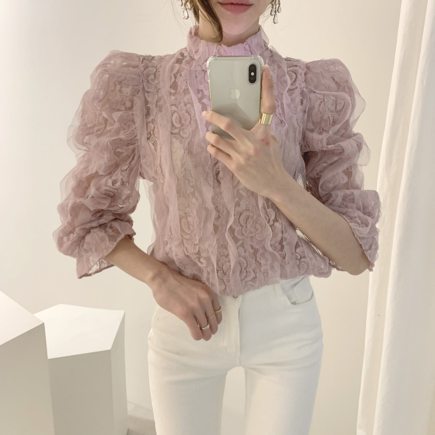 Hbee7f1f5559c4412b439ced7f5775c8bJ - Spring / Autumn Stand Collar Puff Sleeves Mesh Lace Crochet Flower Blouse