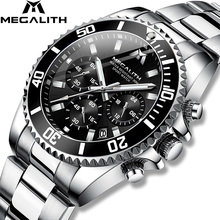Top Brand MEGALITH Luxury Men Watch Stainless Steel Quartz Watches Business Waterproof Wristwatch For Man Reloj Hombr e8046
