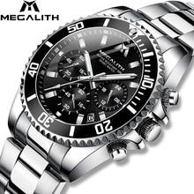 Top Brand MEGALITH Luxury Men Watch Stainless Steel Quartz Watches Business Waterproof Wristwatch For Man Reloj Hombr e8046