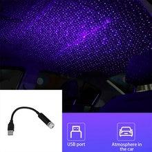 Usb atmosfera luz de projeção do telhado do carro luz decoração da lâmpada teto projeção interior do carro luzes da estrela acessórios automóveis