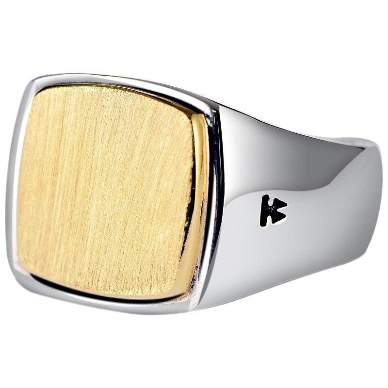 Véritable solide 925 argent Sterling hommes Signet OM anneaux Simple lisse conception Mantra bouddhiste bijoux - 5