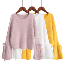Flare Sleeve Kawaii Crop Sweater Knitwear Pink Lace-up Womens Sweaters White Korean Loose Yellow Short Autumn Winter