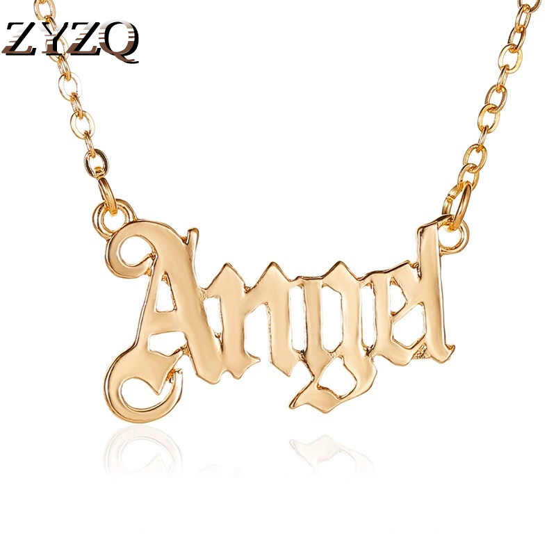 ZYZQ Personality Short Babygirl English Alphabet Necklace For Women Simple Fashion Angel Pendant Clavicle Chain