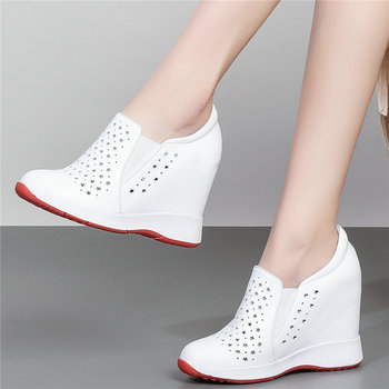Fashion Sneakers Women Genuine Leather Wedges High Heel Vulcanized Shoes Female Breathable Round Toe Pumps Shoes Summer Trainers
