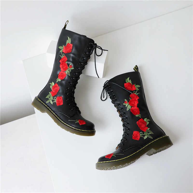 ASUMER 2020 yeni hakiki deri çizmeler kadın çiçekler yuvarlak ayak med topuklu ayakkabılar bayanlar çizmeler zip sonbahar kış orta buzağı çizmeler