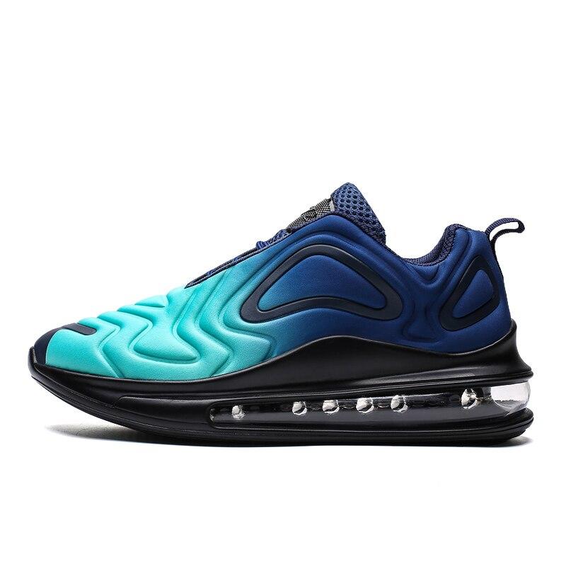 2019 das mulheres dos homens da marca esporte tênis de corrida almofada ar atlético confortável esporte formadores preto azul sapatos de corrida