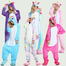 Adults Kigurumi  Winter Animal Pajamas Sets Flannel Cartoon Sleepwear Unicorn Unicornio Green Dinosaur Onesies
