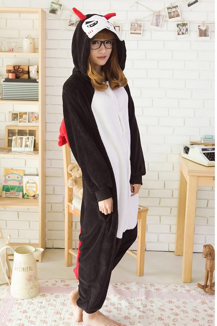 Милый костюм-комбинезон унисекс для взрослых, дьявол пижама в виде животного для косплея, пижама на Хэллоуин, костюм для косплея зимняя теплая одежда для сна флис