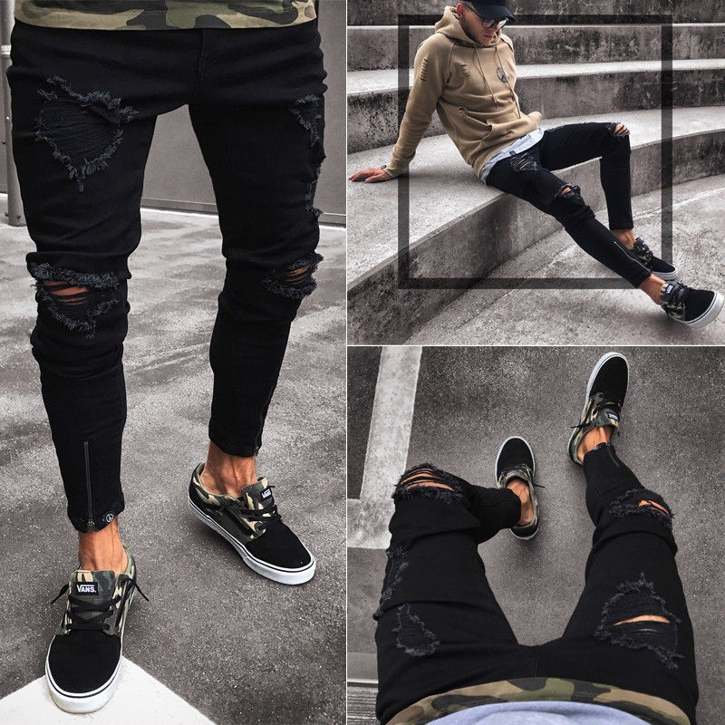 2021 men's jeans cool tight torn stretch slim fit stretch denim trousers hip hop black casual jogging jeans for men