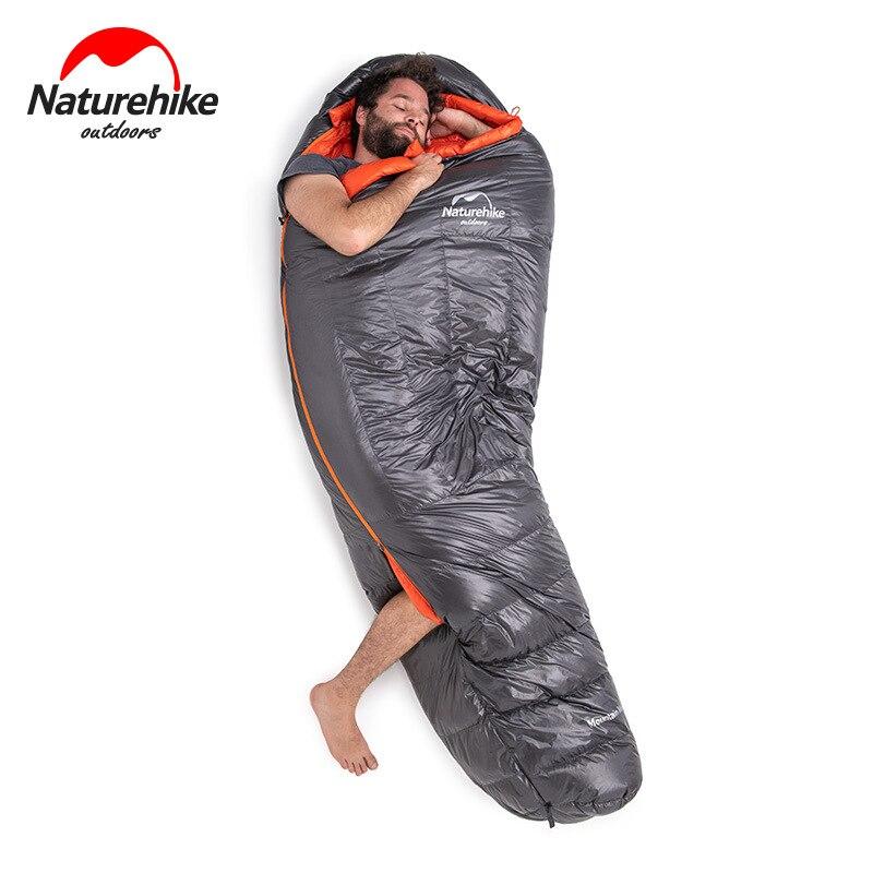 Naturel randonnée usine vente directe vers le bas sac de couchage en plein air épaissi Camping chaud unique sac de couchage léger momie sac de couchage