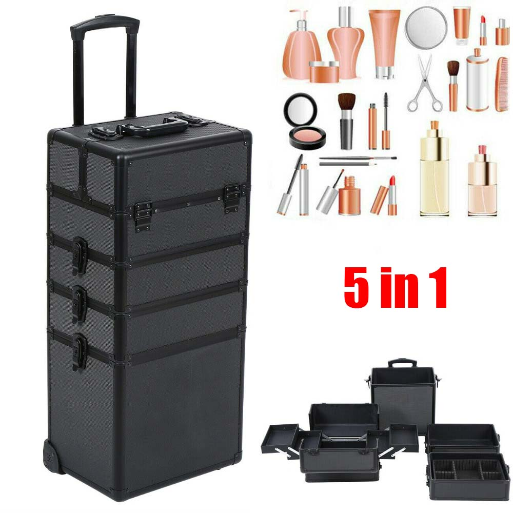 5 In 1 Cosmetic Case Trolley Large Space Storage Beauty Box Makeup Nail Black Cosmetic Vanity Case Rolling Luggage