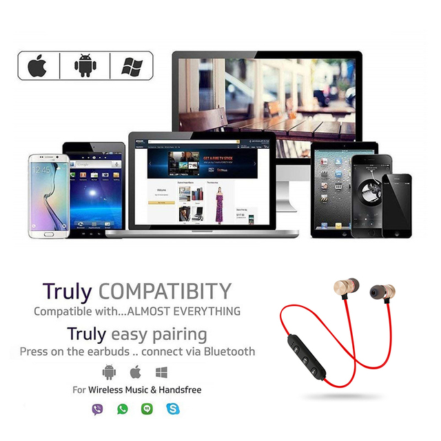 Magnetic Bluetooth Earphone Sports Neckband Magnetic Wireless Gaming Headset Stereo Earbuds Metal Earphones With Mic For IPhone 4