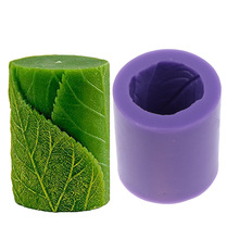 Relief Cylinder With Leaves Mould 3D Silicone Soap Candle Mold Classical  For Handmade Craft Cake DIY Soap Dye Model Decoration